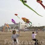 Concurso de cometas anual en la playa de El Cabañal. VALENCIA. España