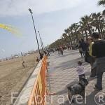 Gente observando una competicion de cometas anual en la playa de El Cabañal. VALENCIA. España