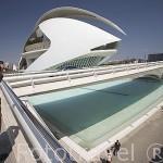 Puente de Monteolivete y detras el edificio del Palacio de las Artes. Arquitecto Santiago Calatrava. VALENCIA. España