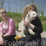 Chicas con su perro. Parque de Cabecera. VALENCIA. España