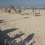 La playa de Pinedo y chicos jugando. VALENCIA. España