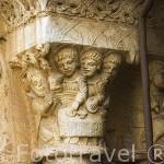 Capitel. Interior del claustro de la catedral. s.XII-XIV.TARRAGONA. Ciudad Patrimonio de la UNESCO. España