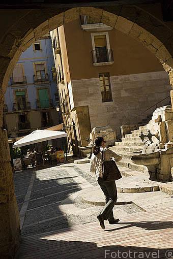 Soportales y arcos goticos, antiguo mercado. Calle Merceria. TARRAGONA. Ciudad Patrimonio de la UNESCO. España