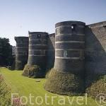 Murallas del castillo del s.XIII. Residencia de los duques de Anjou en el s.XIV- XV. Ciudad de ANGERS. Región de Pays de Loire. Francia. France