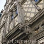 Detalle en la fachada de la Casa de Adam del s.XVI. Población de ANGERS. Región de Pays de Loire. Francia. France