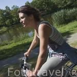 Ciclista junto al canal de la Martiniere, cerca de La Pellerin. Pays des Loire. Francia. France