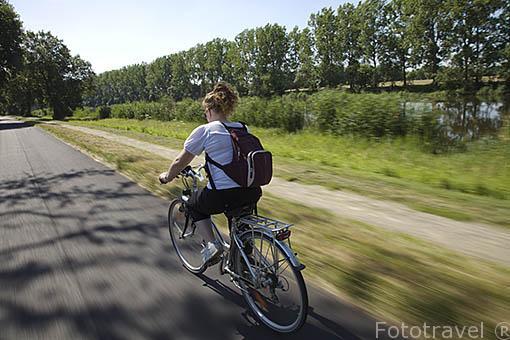 Ciclistas junto al canal de la Martiniere, cerca de La Pellerin. Pays des Loire. Francia. France