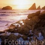 Amanecer en POINTE DES CHATEAUX. El extremo más oriental de la Isla de Guadalupe. Caribe. Francia