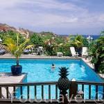 """Vista de la piscina y parte de la isla de Les Saintes desde el hotel """"Les Petites Saintes"""". Al sur de la isla de Guadalupe. Caribe. Francia"""