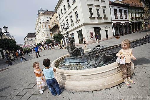 """Calle Baross y fuente """"Nostalgia"""". Ciudad de GYOR. Comarca del Transdanubio. Hungria"""