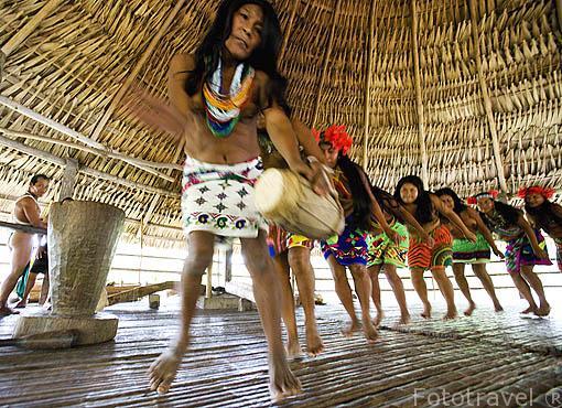 Bailes como el Gallote, Hamaca, Camarón, dureli son habituales. Tribu a Embera. Comunidad de Ipeti. PANAMA. Centroamerica