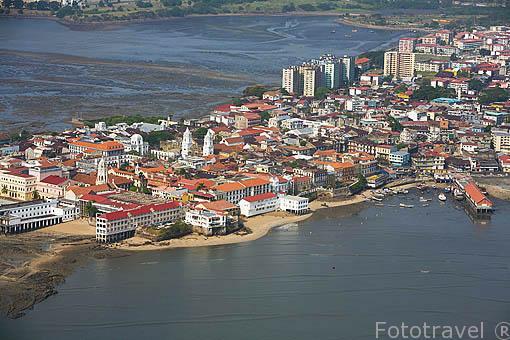 Vista aerea del centro historico de la ciudad de PANAMA. Centroamerica