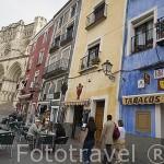 Restaurantes y bares junto a la catedral. CUENCA. Ciudad Patrimonio de la Humanidad. Castilla La Mancha. España