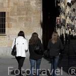 Jovenes en la calle Libreros. SALAMANCA. Ciudad Patrimonio de la Humanidad, UNESCO. Castilla y León. España