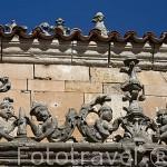 Detalle de figuras en una cornisa en el Patio de las Escuelas Menores. SALAMANCA. Ciudad Patrimonio de la Humanidad, UNESCO. Castilla y León. España