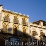 Coloridas casas junto a la plaza Mayor. SALAMANCA. Ciudad Patrimonio de la Humanidad, UNESCO. Castilla y León. España