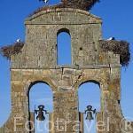 Espadaña y cigüeñas junto al castillo del Buen Amor, (hotel- posada), cerca de la población de TOPAS. Comarca de La Armuña. Provincia de Salamanca. España. Spain
