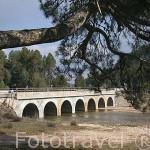 Puente de los Siete Ojos sobre el rio Lobos. Parque Natural del Cañón del rio Lobos. Soria. España