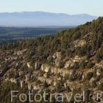 Parque natural del Cañon del rio Lobos. Soria. Al fondo la sierra de Guadarrama. España