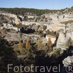 Al fondo la ermita templaria de San Bartolome. Parque natural del Cañon del rio Lobos. Soria. España