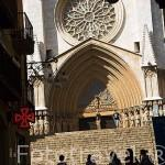 Fachada de la Catedral, S.XII- XIV, desde la calle Major. . TARRAGONA. Ciudad Patrimonio de la UNESCO. España