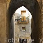 Arcos goticos en Call Jueu, (antiguo barrio judio), S.XIV. TARRAGONA. Ciudad Patrimonio de la UNESCO. España