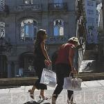 Vista desde plaza Princesa, detras el edificio Simeón - Manuel Gómez Román (1911) En la Plaza Puerta del Sol. Ciudad de VIGO. Galicia. España