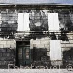 Fachada llena del hongo Torula cerca de una destileria. Ciudad de COGNAC. Francia