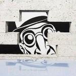 "En la pared de un edificio un comic ""Realite, sortie de Secours"" por Marc Antoine Mathieu. Ciudad de ANGOULEME / ANGULEMA. Francia"