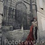 "Comic ""Memoires du XXe ciel"" (Memorias del vigesimo cielo) por Yslaire. En la pared de un edificio. Ciudad de ANGOULEME / ANGULEMA. Francia"