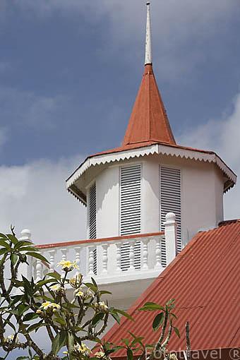 Iglesia protestante de Ierutarema, antigua Todua. Poblacion de AVERA. Isla de RURUTU. Archipielago de las Australes. Oceano Pacifico. Polinesia Francesa