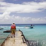Trabajador frente a las costas de agua turquesa donde se guardan las ristras de ostras perliferas a profundidad de 15 a 20m.Atolon de RANGIROA. Archipielago de Tuamotu. Polinesia Francesa.