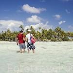 Turistas e islotes (motus) en la Laguna Azul. Atolon de RANGIROA. Archipielago de Tuamotu. Polinesia Francesa. Oceano Pacifico