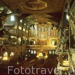 Interior de la Iglesia de la Paz. Patrimonio de la Humanidad,UNESCO desde 2002. Data de época medieval (1652). Evangelista. Realizada en roble y pino. SWIDNICA. Silesia. Polonia