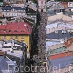 La calle Florianska, al fondo la puerta de San Florian. CRACOVIA. Polonia
