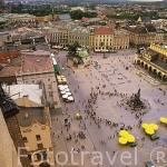 Vista del Mercado de Paños (a la der.) y la Plaza Mayor del Mercado vista desde la torre de la iglesia de Santa María. Trazada en 1257 es una de las más grandes de Europa. CRACOVIA. Polonia