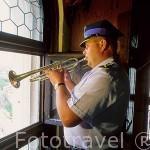 El Sr.Krzysztof Daniel es uno de los que toca la trompeta cada hora siguiendo la tradición desde el s.XV. Torre de la iglesia de Santa María. CRACOVIA. Polonia