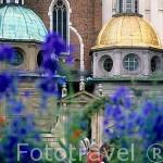 Capillas funerarias reales de varias épocas. La dorada es la capilla de Segismundo con tejado en oro. Ciudadela de Wawel. CRACOVIA. Polonia