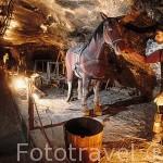 Representacion del trabajo de minero. Interior de las Minas de Sal de WIELICZKA. Declaradas por la UNESCO como Patrimonio de la Humanidad. Al sur de la ciudad de Cracovia. Polonia