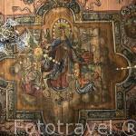 Detalle del techo con pinturas barrocas en la pared con motivos biblicos cubren cerca de 700 mts2, siendo las más grandes en Europa. Originales del s.XVII. Iglesia de San Nicolas. GASAWA. Polonia