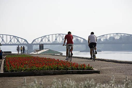 Paseo fluvial con escaleras, al fondo un puente ferroviario sobre el rio Wisla. Ciudad de TORUN. (Unesco). Kuyavia- Pomerania. Polonia