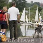 Pareja junto a su perro, detras el embarcadero con veleros. Rio Wisla. Ciudad de TORUN. (Unesco). Kuyavia- Pomerania. Polonia