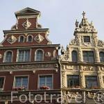 Fachadas de edificios en el Mercado Largo. Ciudad de GDANSK. Polonia
