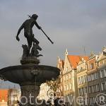 Mercado Largo y la estatua de Neptuno. Ciudad de GDANSK. Polonia