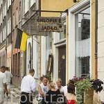 Terraza en la calle peatonal de Mariacka. Ciudad de GDANSK. Polonia