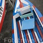 Detalle de embarcacion deportiva a remo. Junto al puerto pesquero de Vilafranca do Campo. Isla de SAO MIGUEL. Azores. Portugal