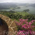 Vista del Lago de Sete Cidades desde el mirador Do Rei. SAO MIGUEL. Azores. Portugal