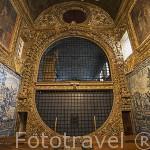 Coro de clausura. Interior de la iglesia barroca de Sao Gonzalo. En Angra do Heroismo. Isla de TERCEIRA. Azores. Portugal