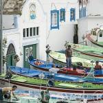 Barcos pesqueros amarrados a puerto. En Sao Mateus de Baixo. Isla de TERCEIRA