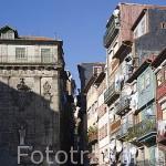 Edificios en la Plaza de Riberia y barrio del mismo nombre. Ciudad de OPORTO. Portugal